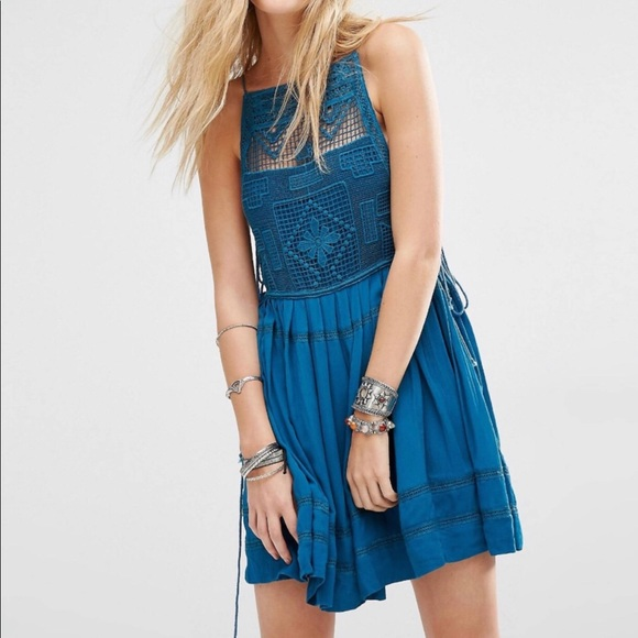 FREE PEOPLE Womens Lace Teal Blue Emily Midi Dress